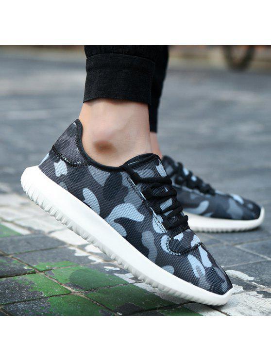 متعدد الألوان تنفس المطبوعة أحذية رياضية - أسود رمادي 44