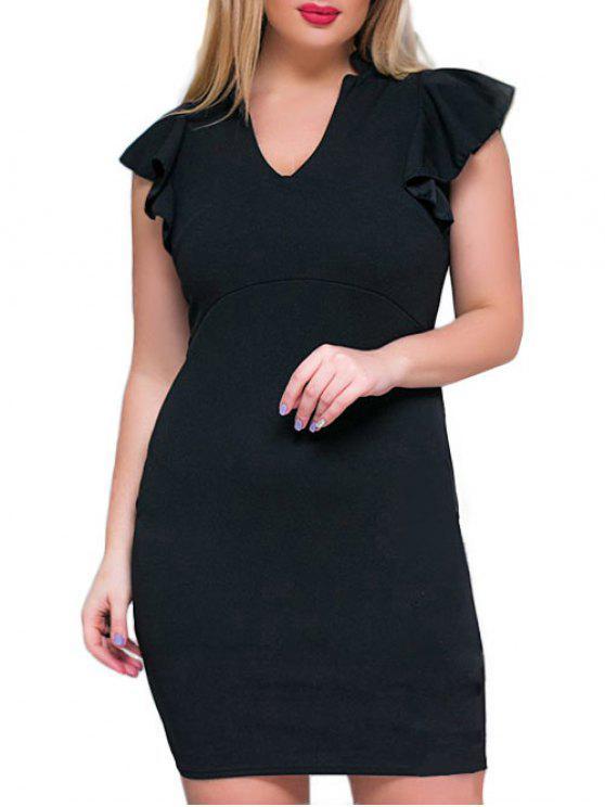 V فستان كشكش الحجم الكبير ضيق الرقبة - أسود 3XL