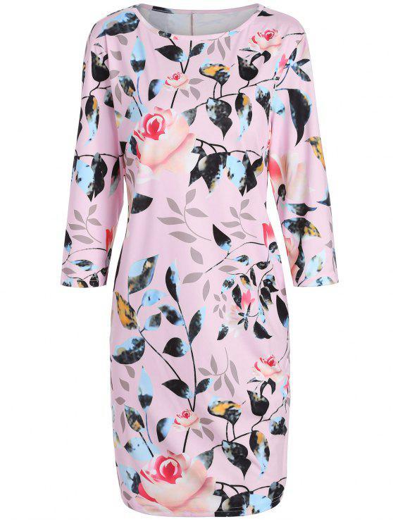 فستان رصاص طباعة الأزهار الحجم الكبير - زهري 6XL