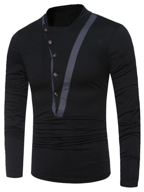 Stand Collar Unregelmäßige Knöpfe Langarm T-Shirt - Schwarz XL