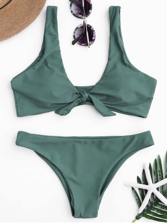 trendy Knotted Scoop Bikini Top and Bottoms - LAKE GREEN S