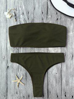 Textured High Leg Bandeau Bikini Set - Green M
