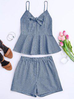 Plaid Peplum Knot Top And Shorts - Blue Xl