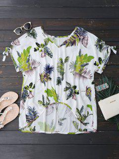 Oversized Tropical Asymmetrical Top - White S