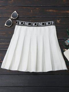 Knitting Letter A-Line Mini Skirt - White
