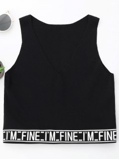 V Neck Letter Knitting Tank Top - Black