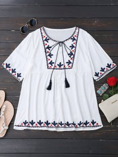 Tassels Oversized Embroidered Top - White