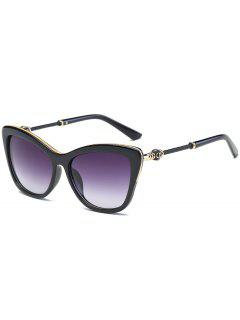 Metal Inlay Frame Butterfly Anti UV Sunglasses - Bright Black+grey