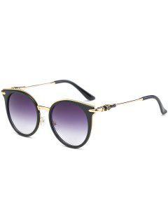 Cat Eye Metal Splicing Leg Round Sunglasses - Black Frame+grey Lens