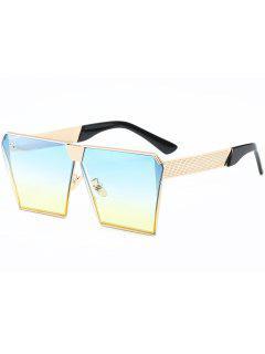 Vintage Square Frame Sunglasses - Gold Frame + Yellow-blue Lens