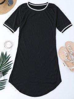 Ribbed Striped Panel Mini Dress - Black M
