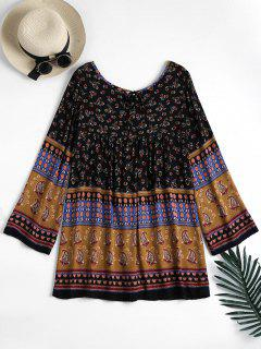 Long Sleeve Tribal Print Tunic Dress - Black M