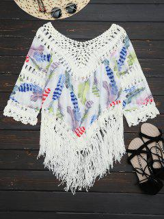 Feather Print Crochet Fringed Blouse - Multi