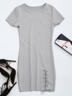 Round Collar Ribbed Lace Up Dress - Gray M