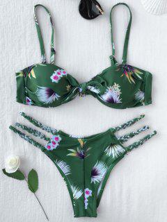 Printed Knotted Bikini Top And Bottoms - Green M