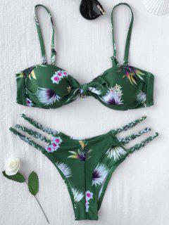 Traje De Bikini Con Cordón De Trenza Con Estampado  - S