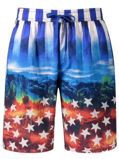 Star And Stripe Printed Board Shorts - Blue Xl