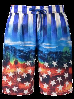 Star And Stripe Printed Board Shorts - Blue Xl
