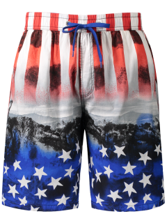Star And Stripe Printed Board Shorts - Red 3xl