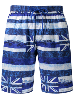Union Jack Printed Striped Board Shorts - Blue Xl