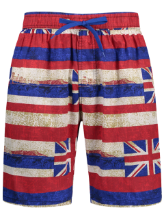 Union Jack Printed Striped Board Shorts - Red 2xl