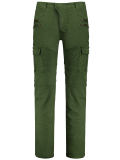Zips Biker Pants With Multi Pockets - Green Xl
