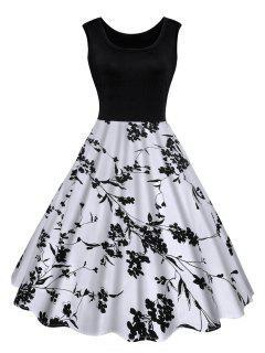 Robe Midi Imprimée Florale Vintage - Noir 2xl