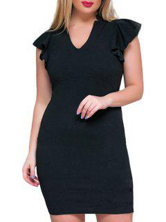 Plus Size V Neck Ruffle Sheath Dress - Black 2xl