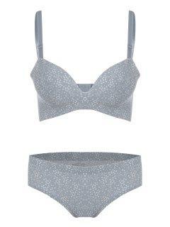 Seamless Padded Hearts Print Bra Set - Gray 70a