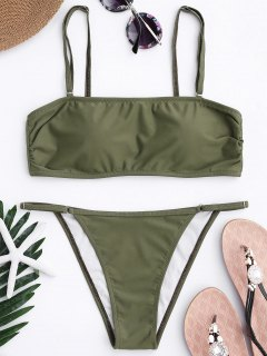 Bandeau Bikini Top And Tanga Bottoms - Army Green S
