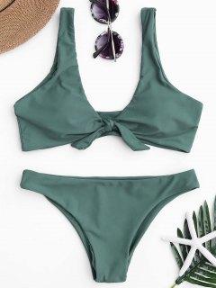 Knoten Scoop Bikini Top Und Badehose - See Grün  S