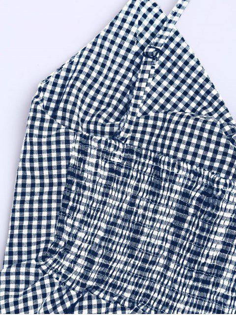 Haut et Shorts à carreau avec nœud papillon et péplum - Bleu M Mobile