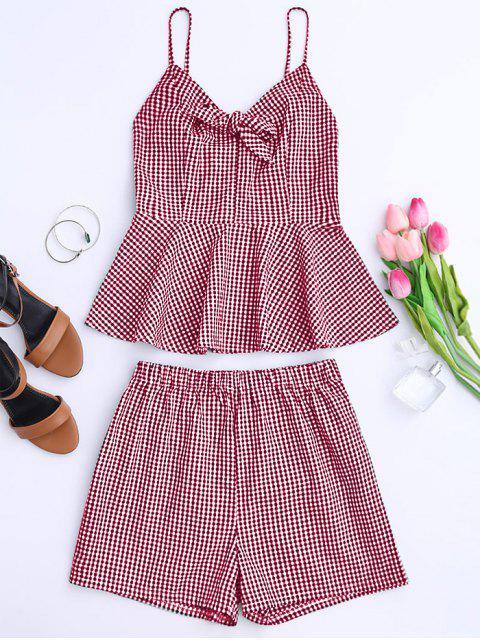 Haut et Shorts à carreau avec nœud papillon et péplum - Rouge XL Mobile