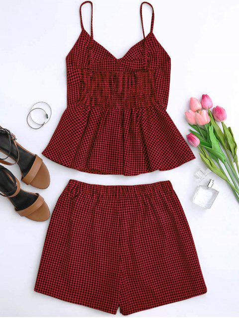sale Plaid Peplum Knot Top and Shorts - DEEP RED S Mobile