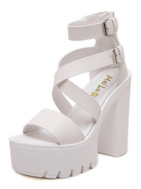 online Zipper Double Belt Buckle Cross Strap Sandals - WHITE 39 Mobile