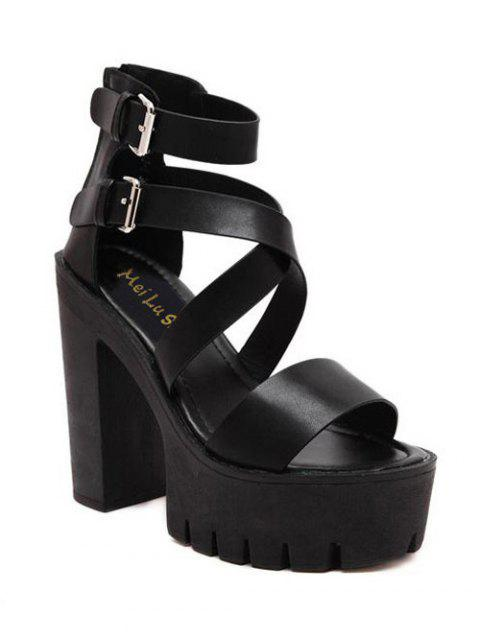 lady Zipper Double Belt Buckle Cross Strap Sandals - BLACK 38 Mobile
