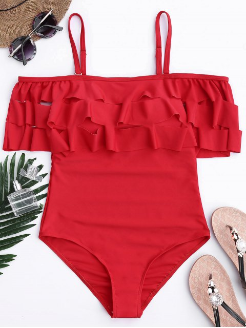 new Ruffle Off The Shoulder One Piece Swimsuit - RED M Mobile