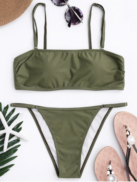 fashion Bandeau Bikini Top and Tanga Bottoms - ARMY GREEN L Mobile