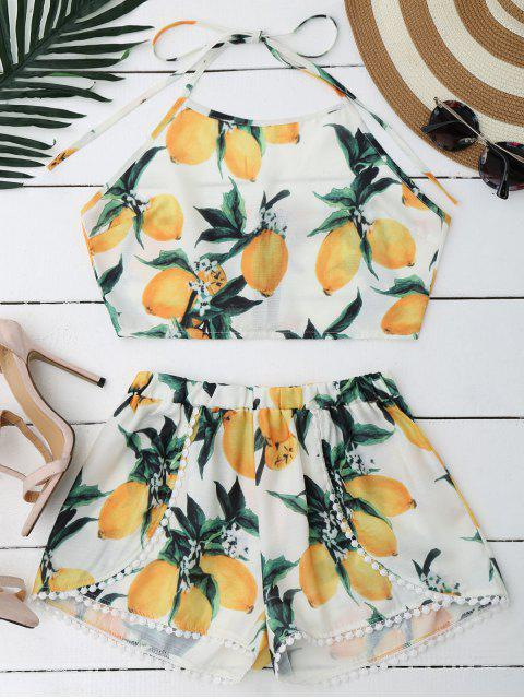 ladies Lemon Halter Crop Top Shorts Set - WHITE S Mobile