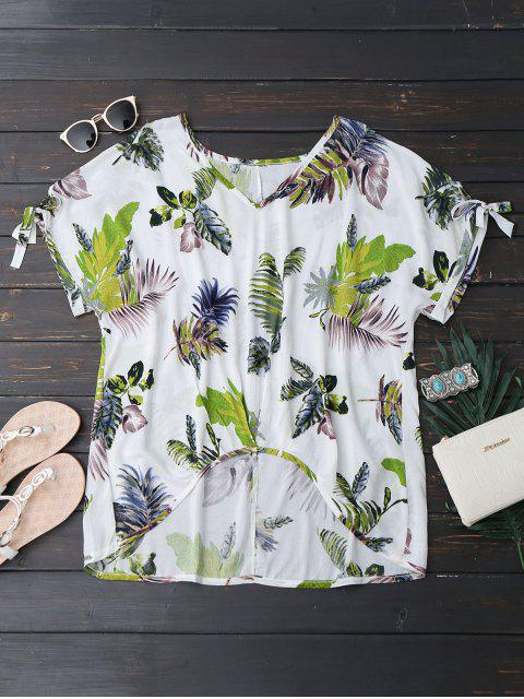 trendy Oversized Tropical Asymmetrical Top - WHITE S Mobile