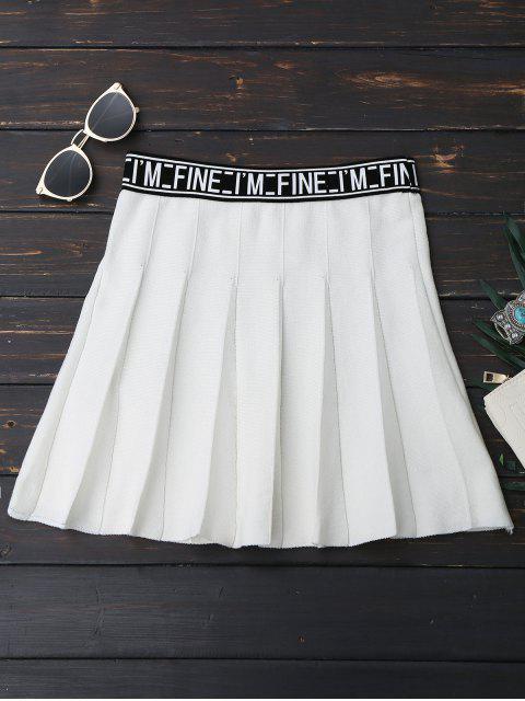 chic Knitting Letter A-Line Mini Skirt - WHITE ONE SIZE Mobile