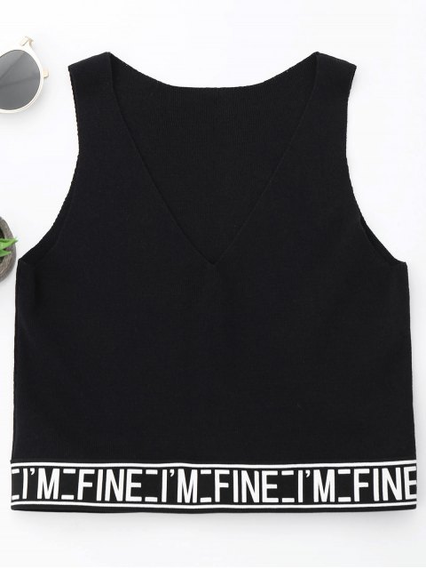 sale V Neck Letter Knitting Tank Top - BLACK ONE SIZE Mobile