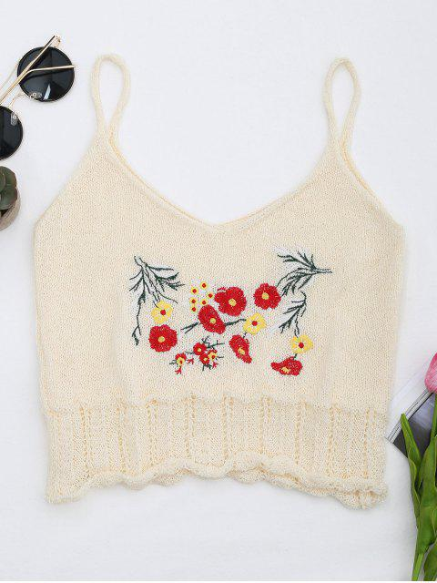 ladies Knitted Sheer Hemming Embroidered Tank Top - OFF-WHITE ONE SIZE Mobile