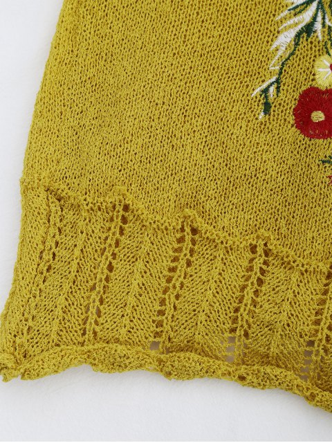 lady Knitted Sheer Hemming Embroidered Tank Top - YELLOW ONE SIZE Mobile
