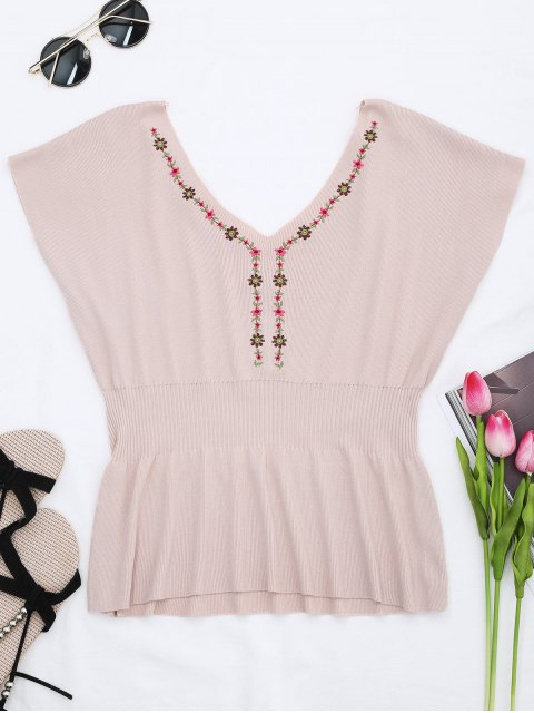 latest Ribbed Panel Knitting Embroidered Top - PINK ONE SIZE Mobile