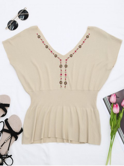fashion Ribbed Panel Knitting Embroidered Top - APRICOT ONE SIZE Mobile