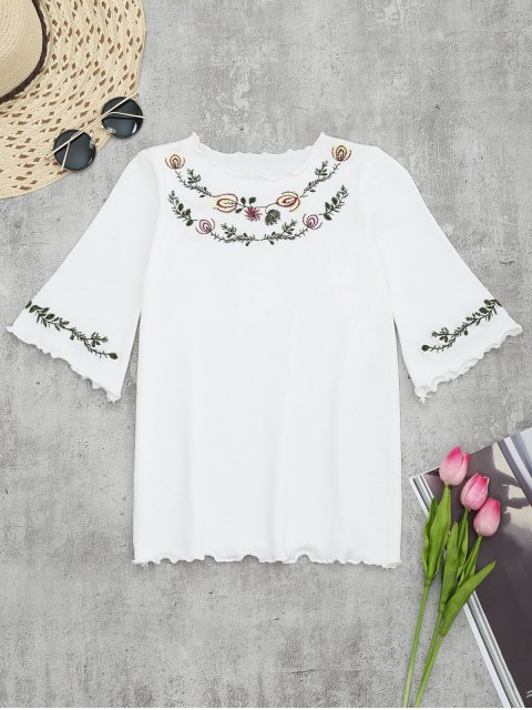 chic Knitting Embroidered Ruffles Top - WHITE ONE SIZE Mobile