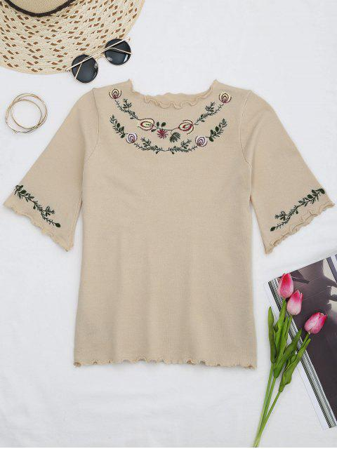 fancy Knitting Embroidered Ruffles Top - APRICOT ONE SIZE Mobile