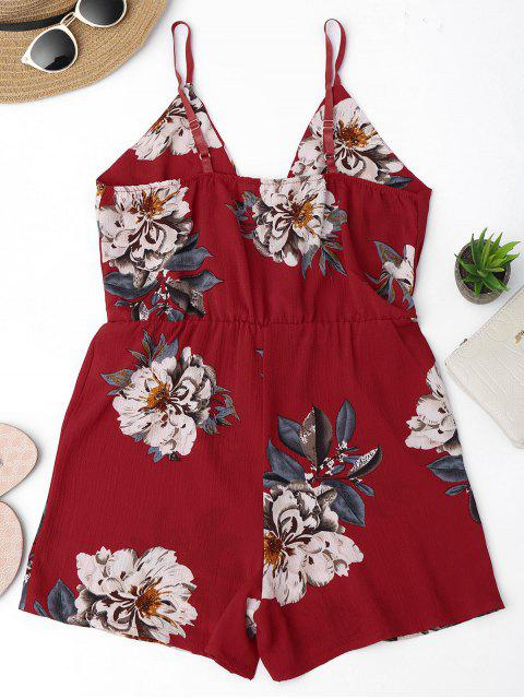 women Cami Layered Floral Romper - FLORAL M Mobile