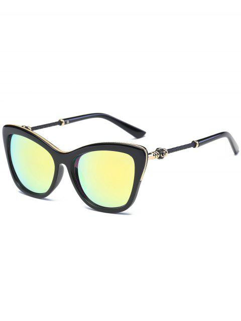 unique Butterfly Shape Metal Inlaid Frame Reflective Sunglasses - GOLDEN  Mobile